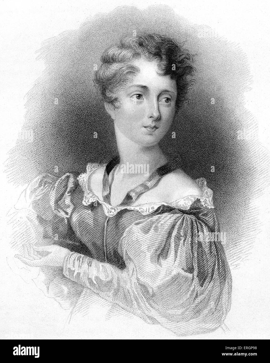 Lady Caroline Lamb. British aristocrat and novelist, who had an affair with Lord Byron in 1812. Engraving by William - Stock Image