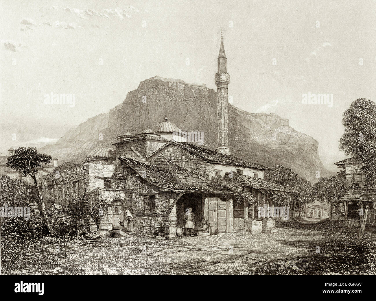 Corinth. A view of Corinth visited by Lord Byron and written about in his narrative poem 'The Siege of Corinth'. - Stock Image