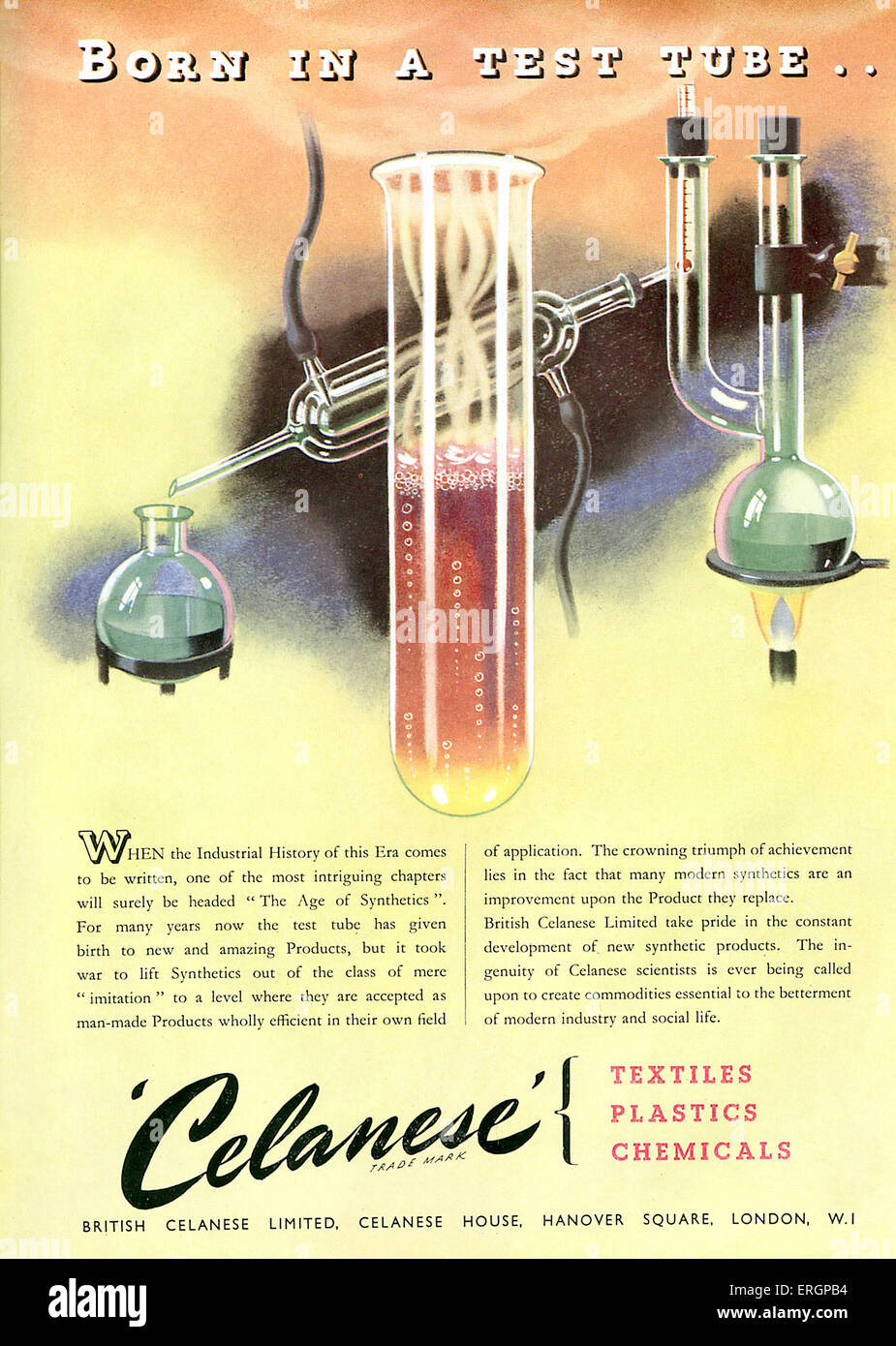 1946 advertisment celebrating synthetic product development: 'Born in a test tube…' . For British Celanese - Stock Image