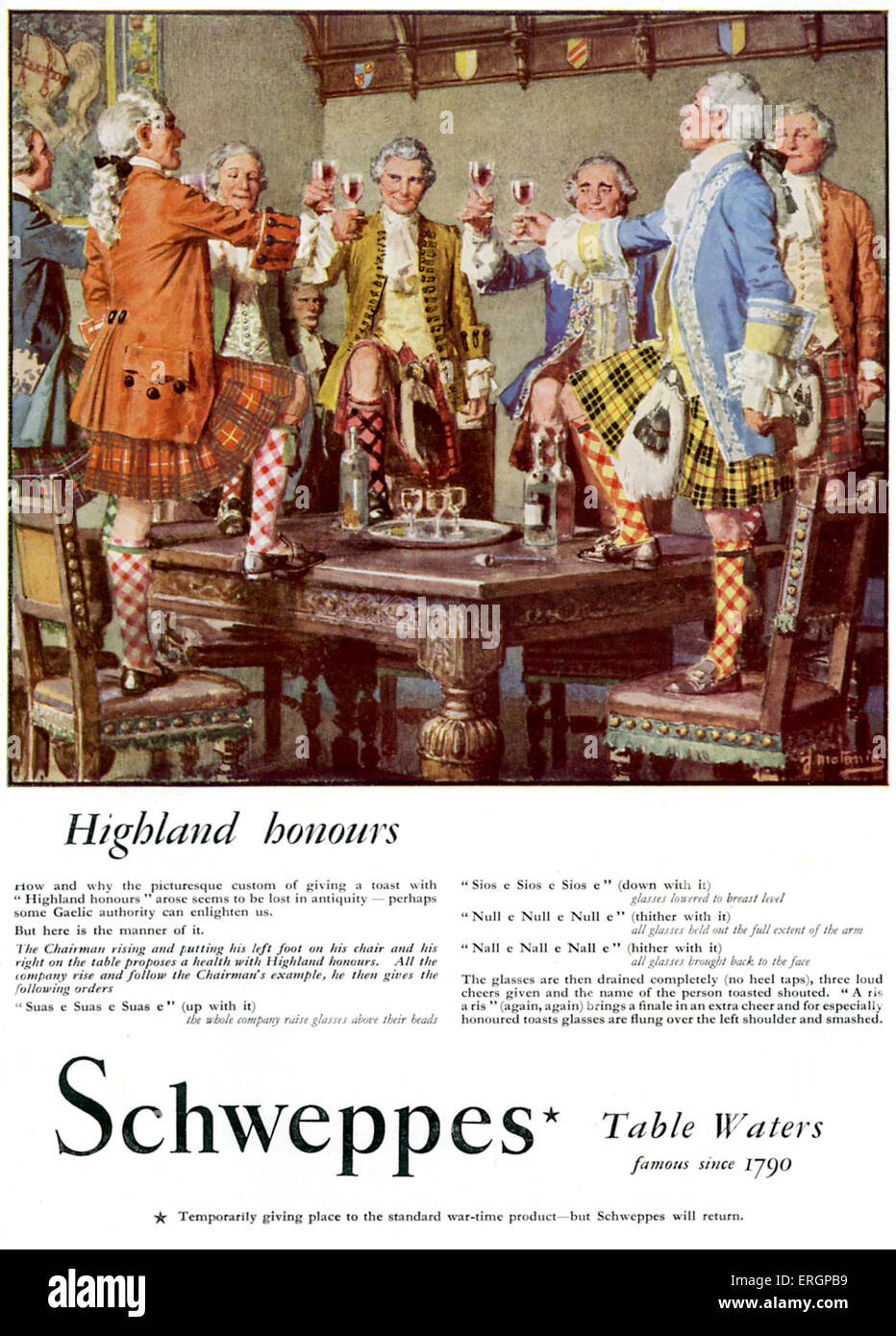 Schweppes advertisment. 'Highland honours' - Group of men in 18th century traditional Scottish dress giving - Stock Image