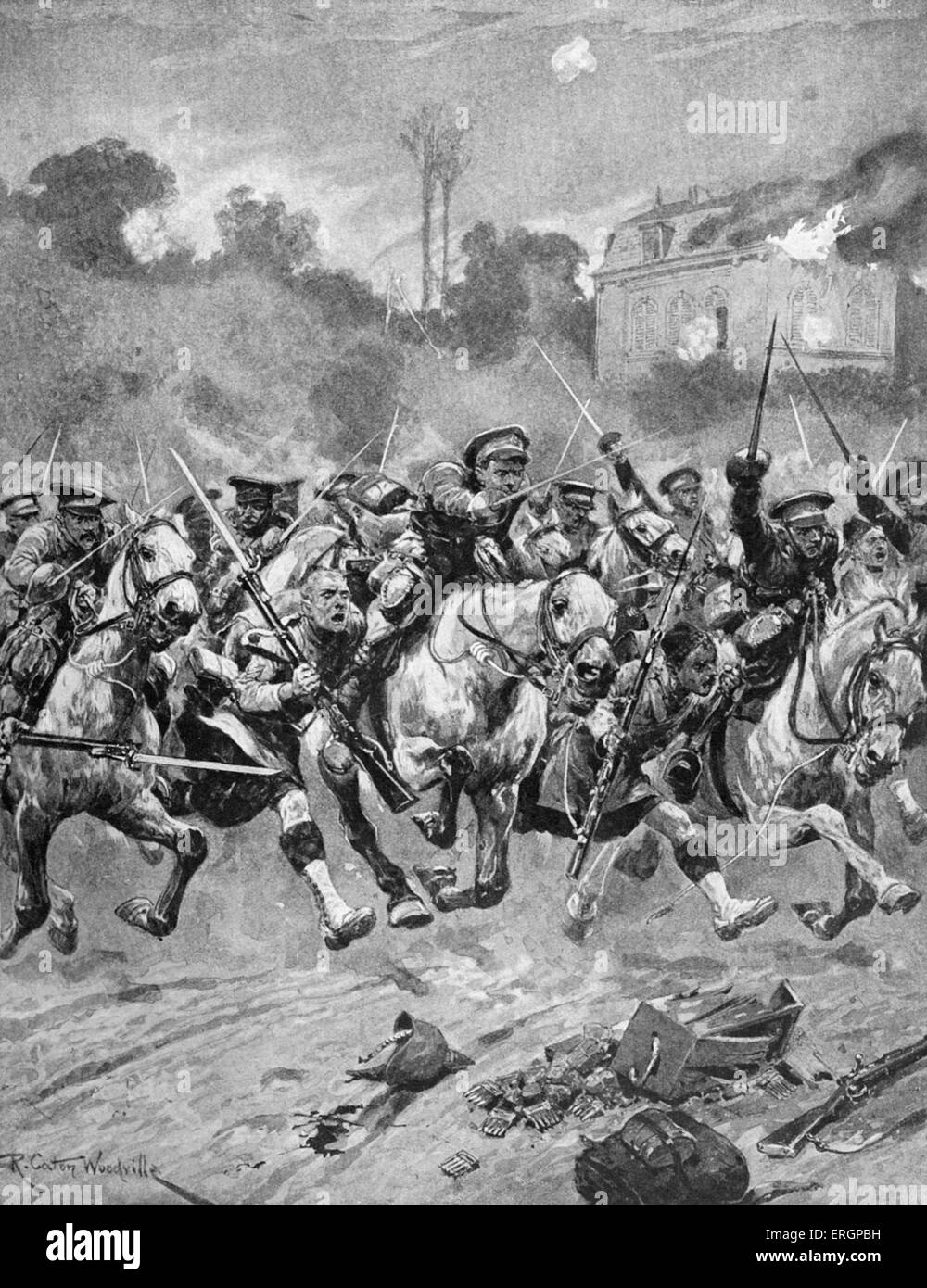 Battle of St Quentin, France. 'Stirrup charge' of the Royal Scots Grey and the Highlanders, 30 August 1914. - Stock Image