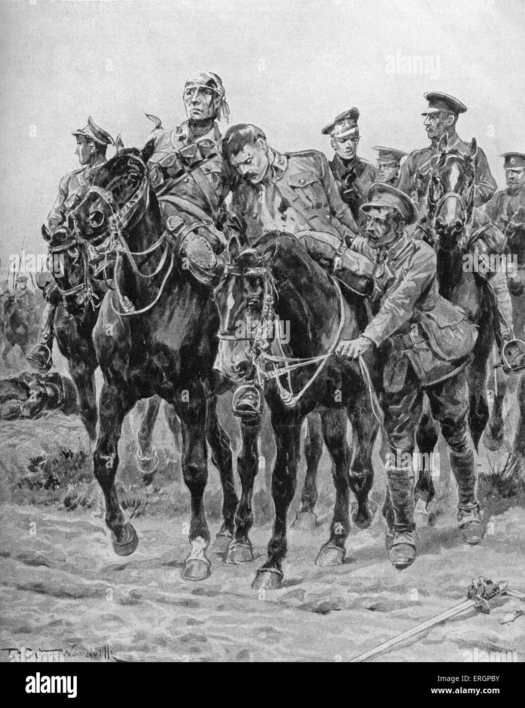 Wounded British soldiers return on horseback, after a cavalry charge. Cavalry Division of a British Expeditionary - Stock Image
