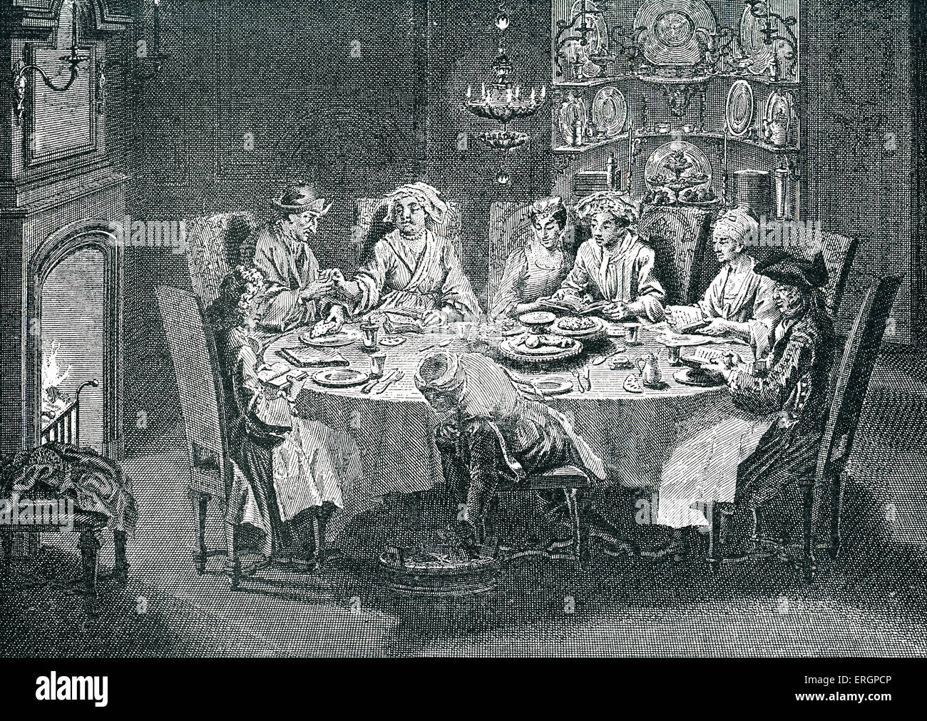 Passover. In Amsterdam, Holland. Seder night with family of Dutch Jews sitting around the table, reading from the - Stock Image