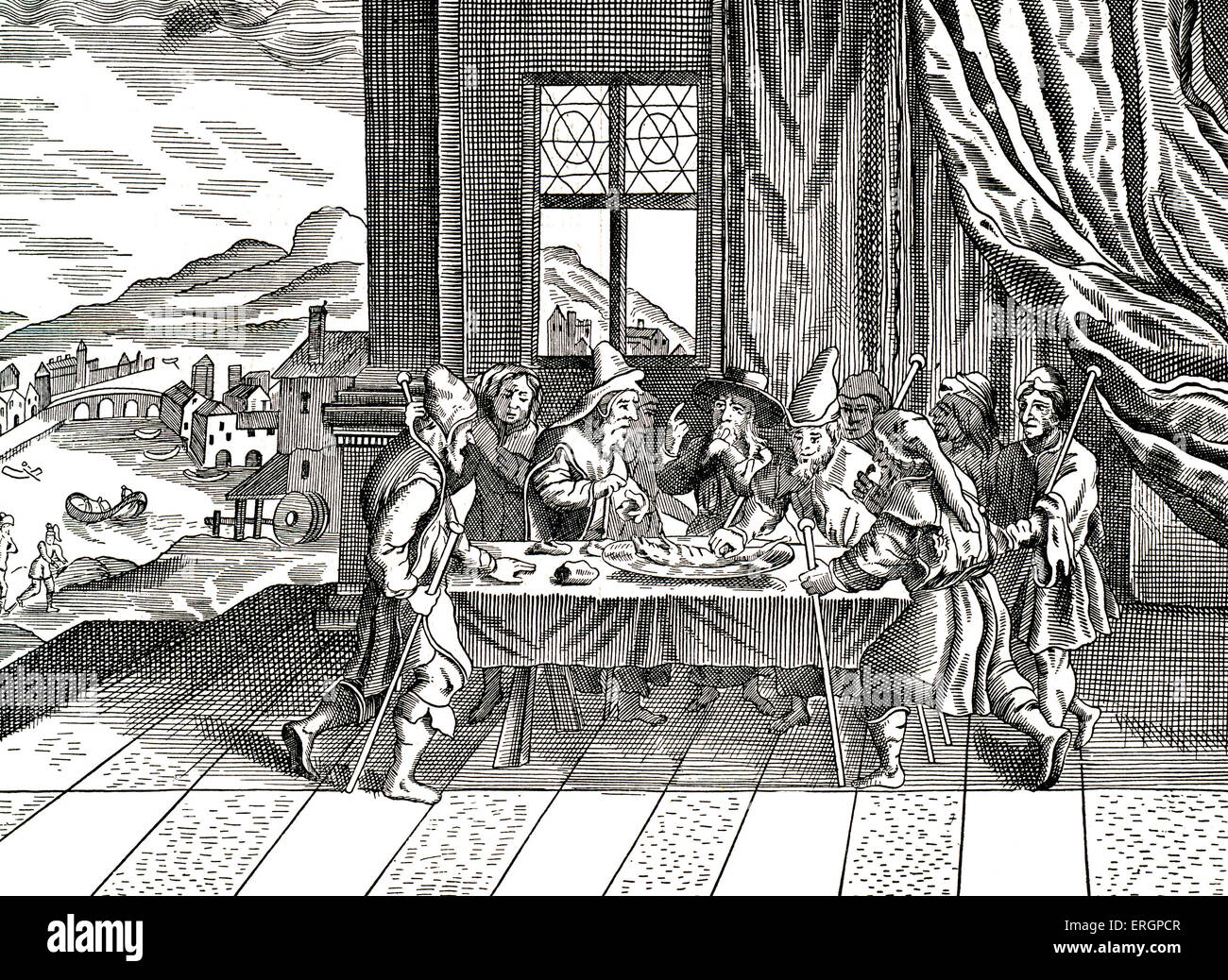 Passover.  Seder night.  celebration from 17th century haggadah - Stock Image