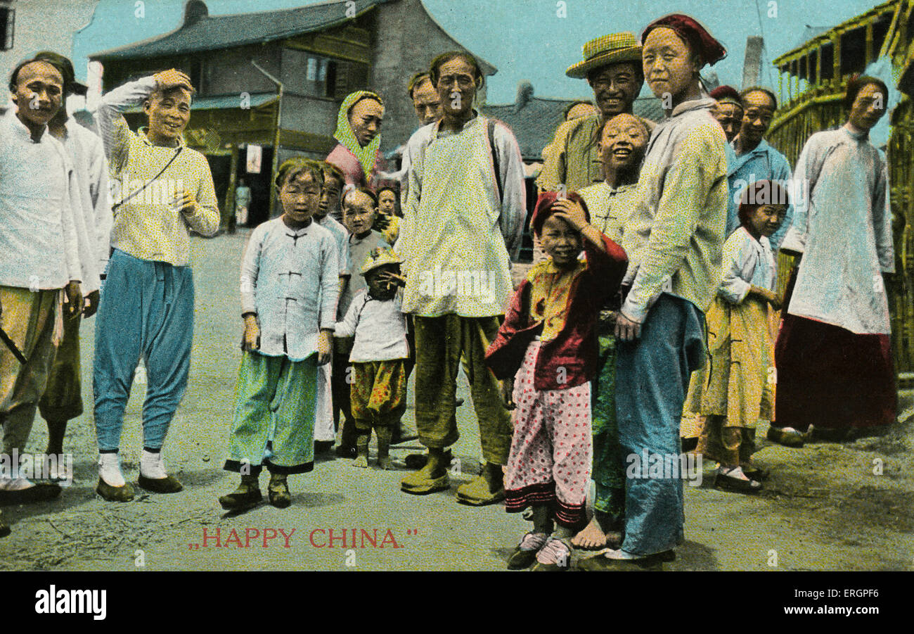 China ,passers by in street.  Caption reads: Happy China.  Postcard message written in 1914 reads: You must not - Stock Image