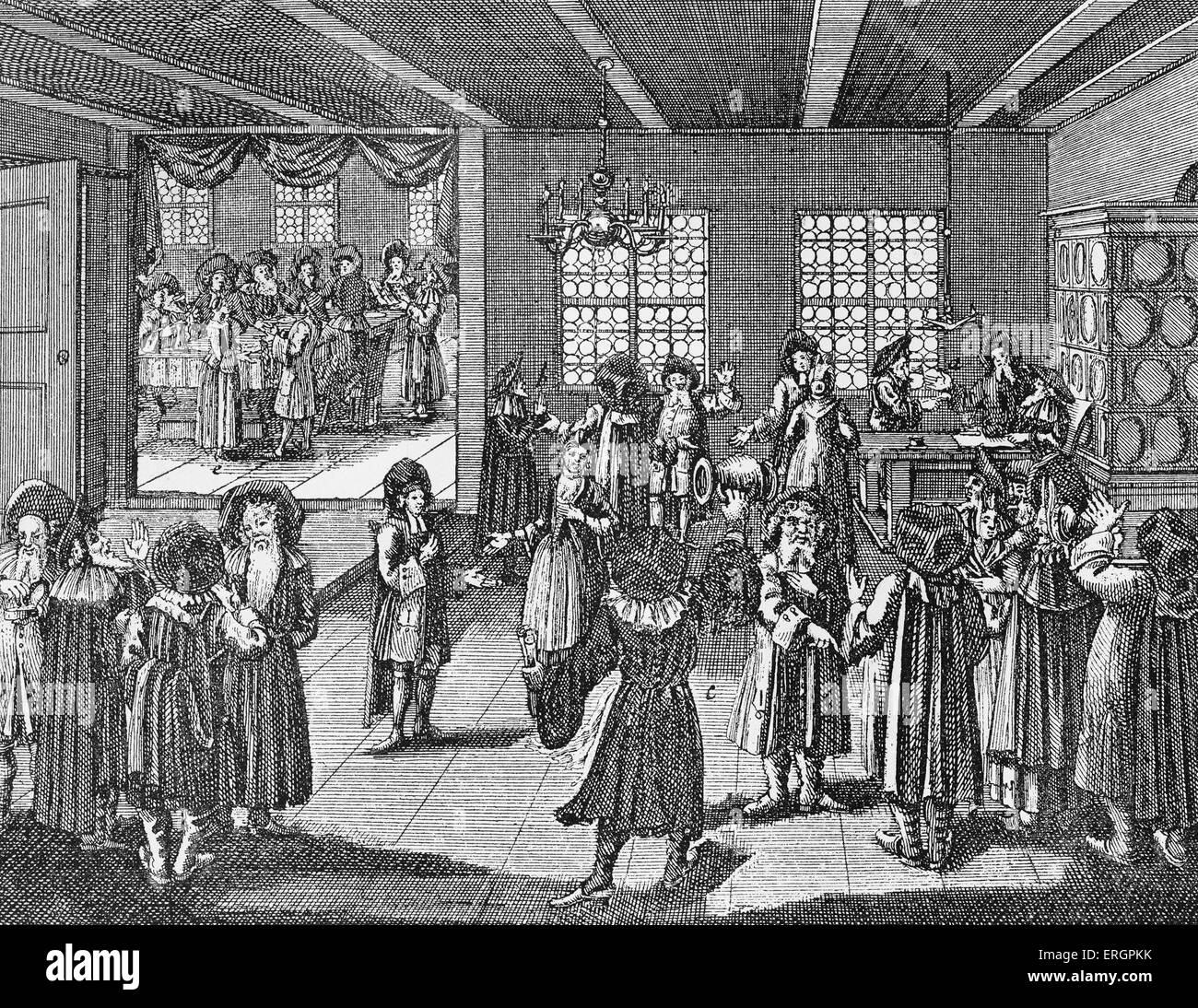 Wedding celebration feast after mariage ceremony / Die Eheschliessung of German Jews in 18th century. Engraving - Stock Image