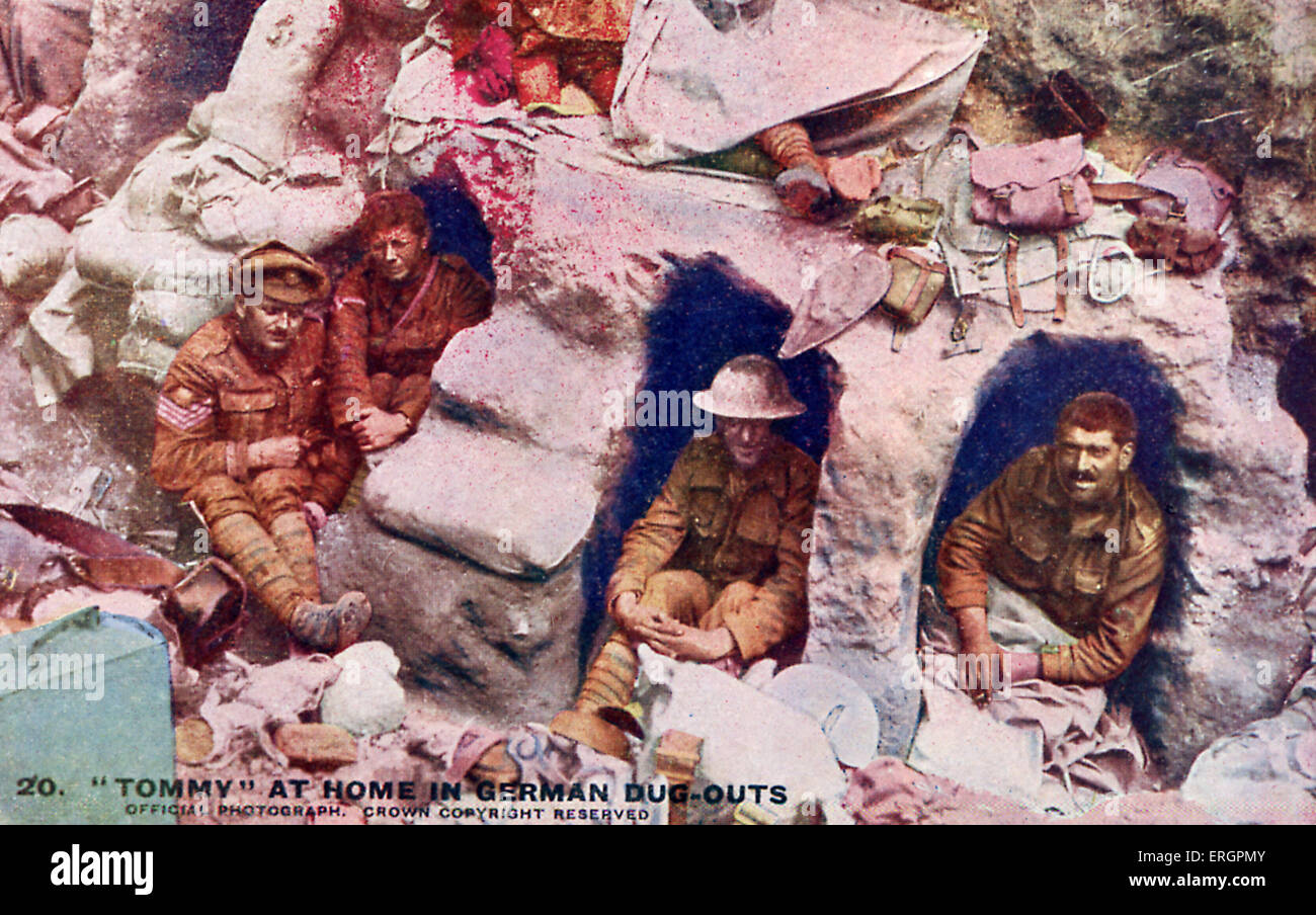 WW1 -  British soldiers in German dug-outs, Western Front. Caption reads: ' Our 'Tommies' soon make - Stock Image