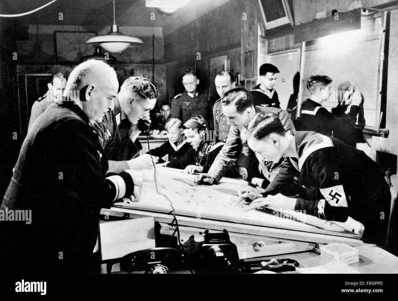 WW2 - German navy headquarters. Naval auxiliaries working and plotting. - Stock Image