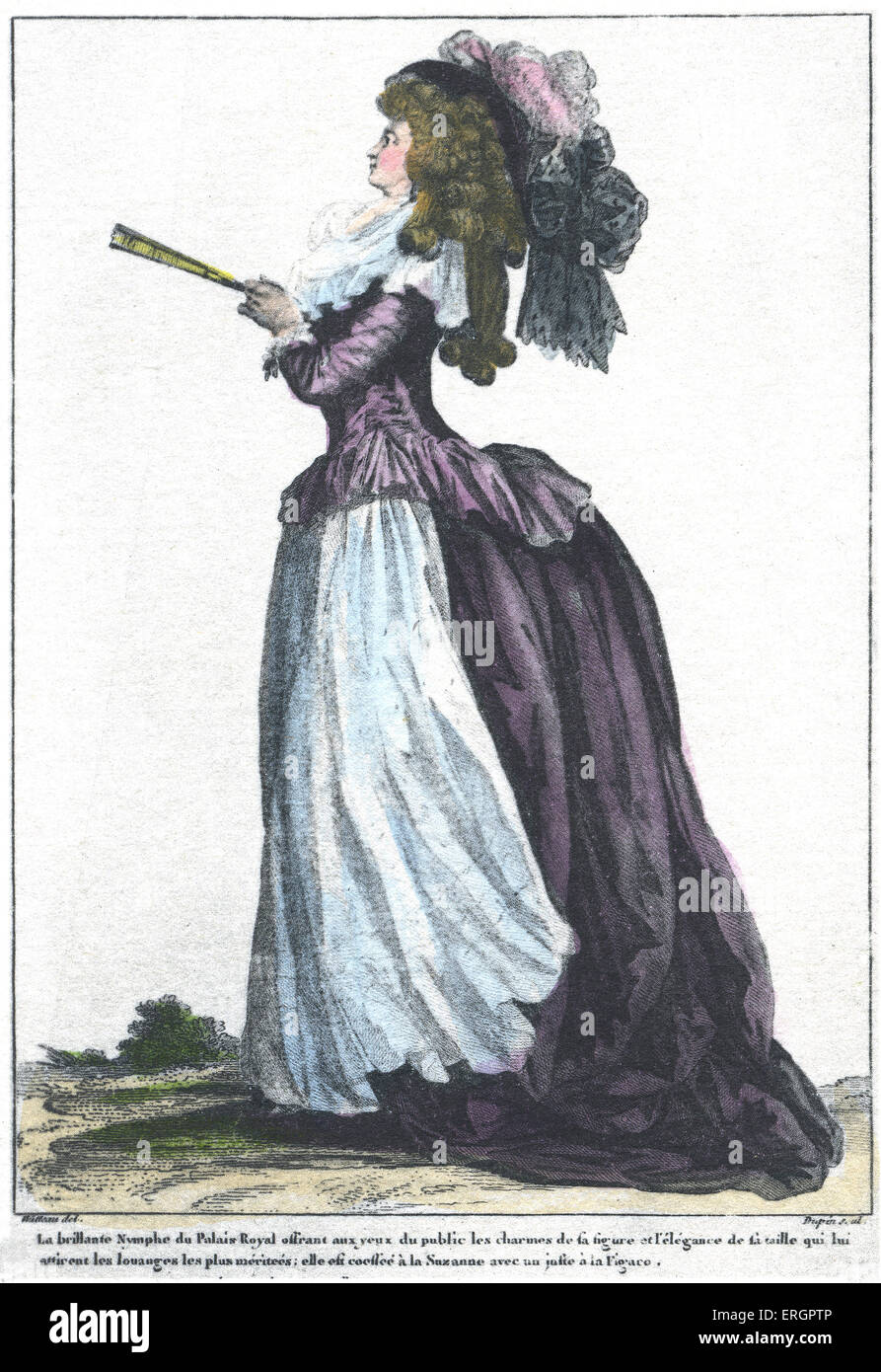 Courtesan of the Palace of Louis XVI. Side view of woman in French court dress from 1781,  wearing a full skirt - Stock Image