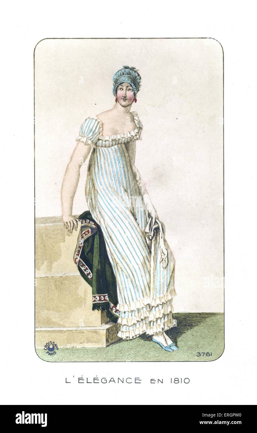 19th century fashion. Ruffle trimmed dress and lace hat from 1810. - Stock Image