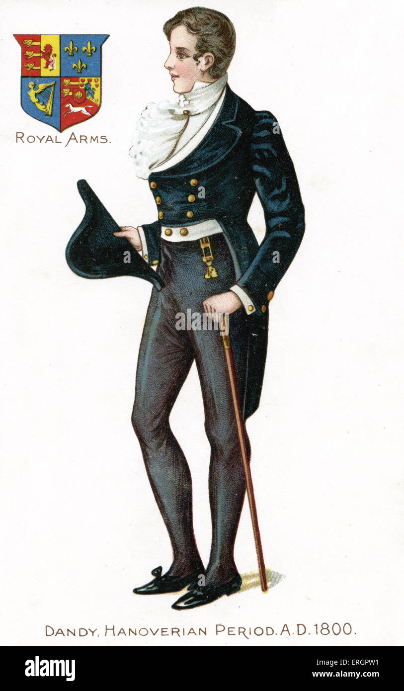 English dandy 1800. Man in typical 'dandy' fashion, wearing a gold buttoned velvet jacket and carrying a - Stock Image
