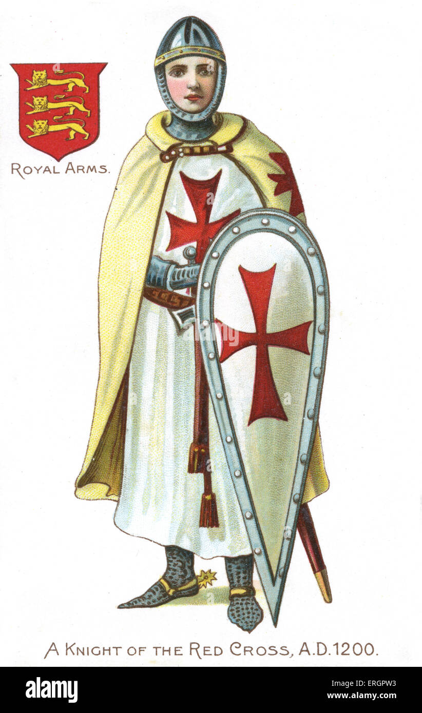 Knight of the Red Cross / Knights Templar, 1200. Medieval soldier of the crusades, wearing a cape, gown and shield - Stock Image