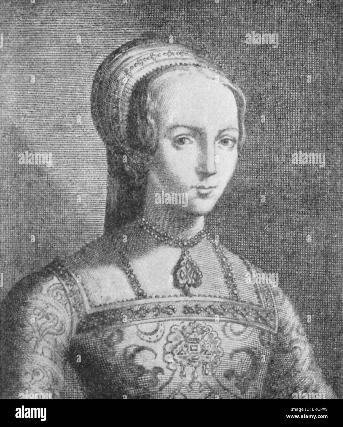 Lady Jane Grey (1536/1537–12 February 1554), portrait. Grandniece of Henry VIII of England. Also referred to as - Stock Image