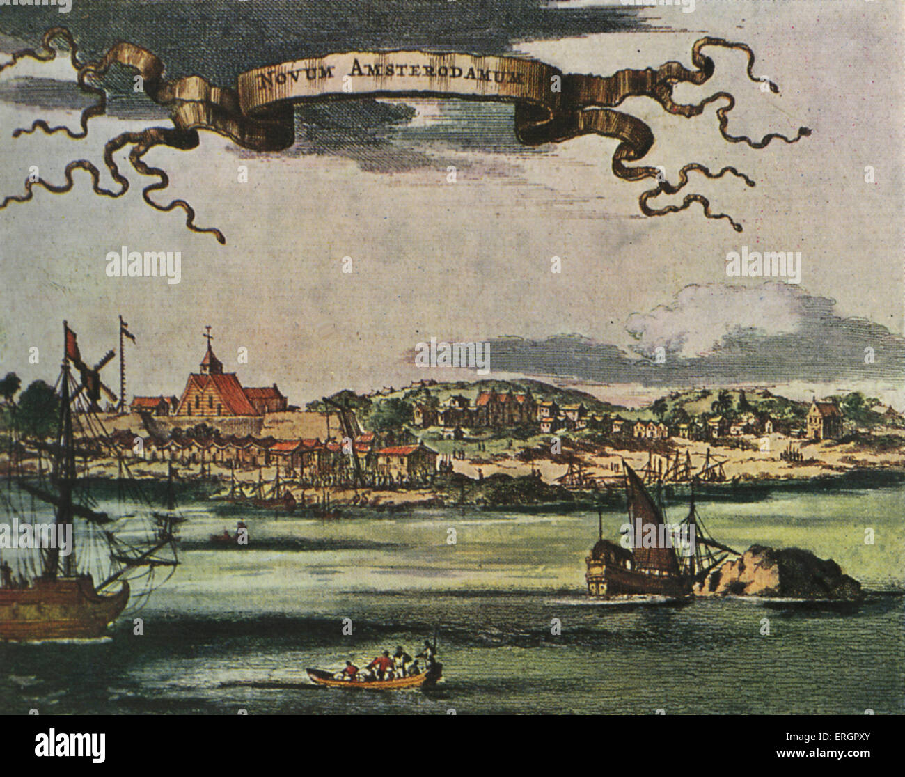 New Amsterdam, 17th century view. Dutch settlement established at the southern tip of Manhattan Island, United States. - Stock Image