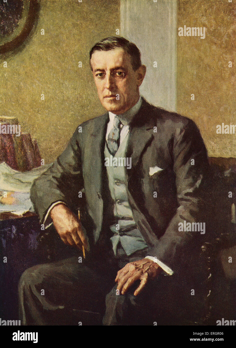 Thomas Woodrow Wilson, portrait. 28th President of the United States, 1856-1924. After the oil painting by Stephen - Stock Image