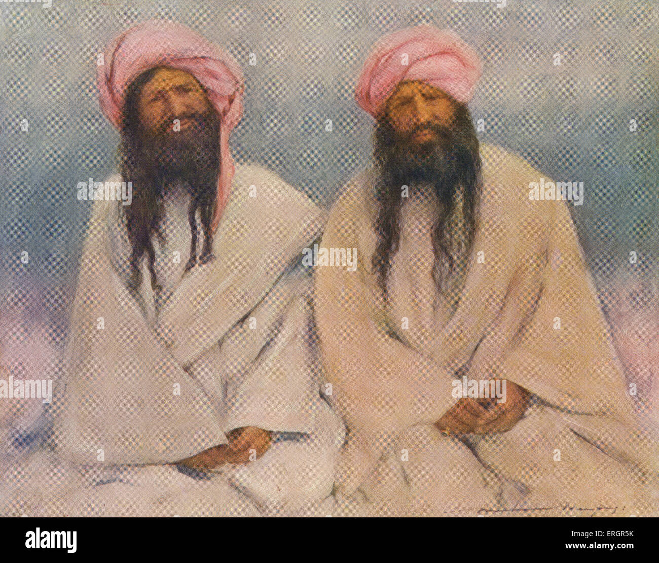 Portrait of two Baluchi chiefs, members of a tribal society native to the Balochistan region of the Indian subcontinent - Stock Image