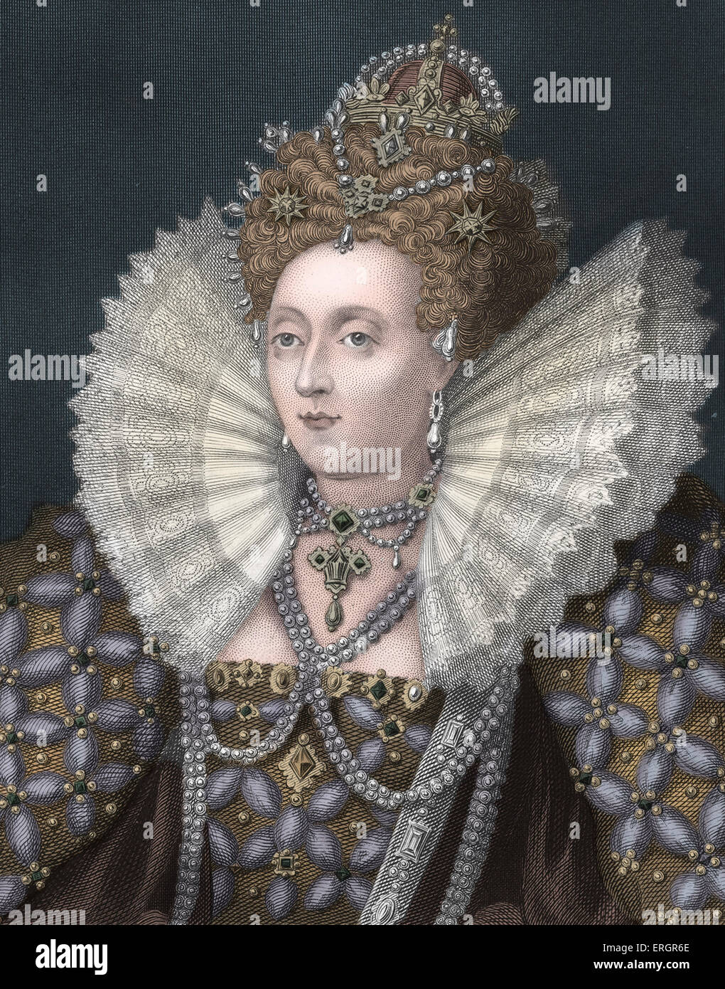 Elizabeth I, portrait. Queen of England from 1558 until her death. 7 September 1533 – 24 March 1603. - Stock Image