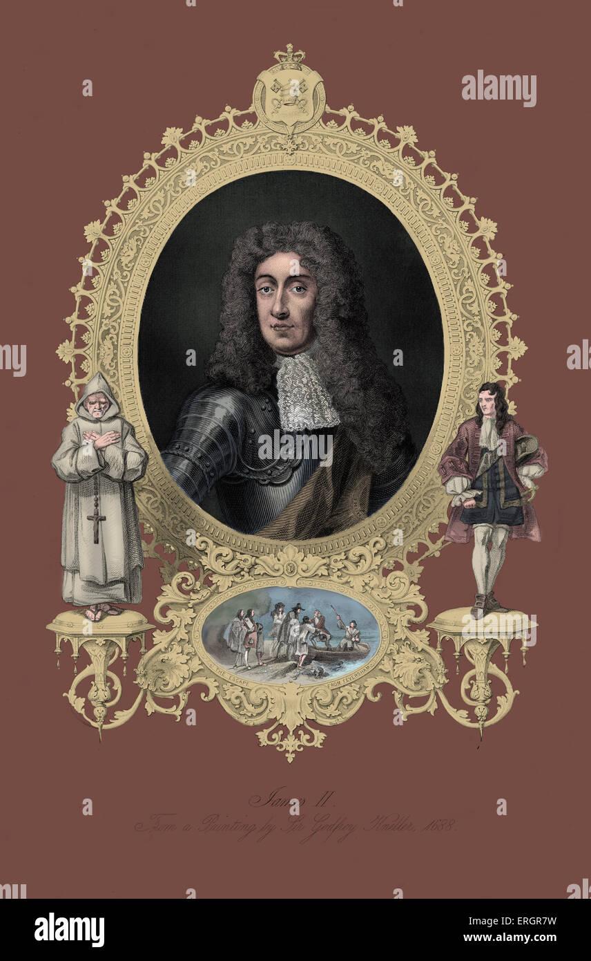 James II, portrait. King of England and Ireland as James II and King of Scotland as James VII, from 6 February 1685 - Stock Image