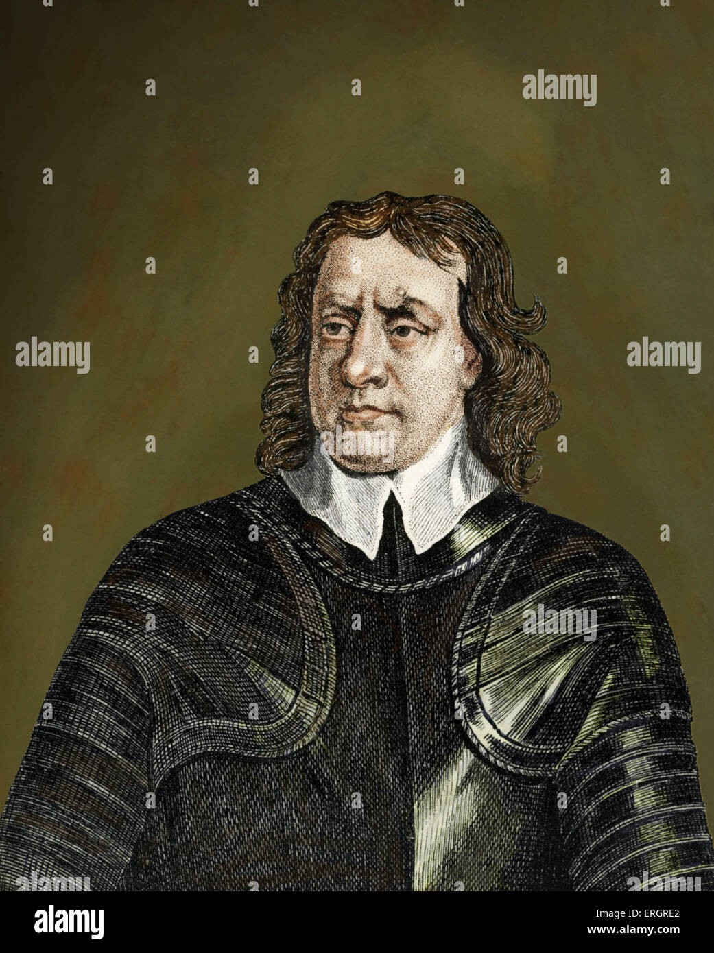 Oliver Cromwell (1599 – 1658) was an English military and political leader best known for his involvement in making - Stock Image