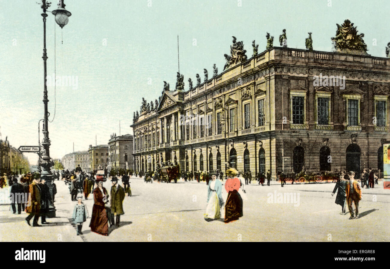 BERLIN - Zeughaus - with passersby -end of 19th century / beginning of 20th. postcard - Stock Image