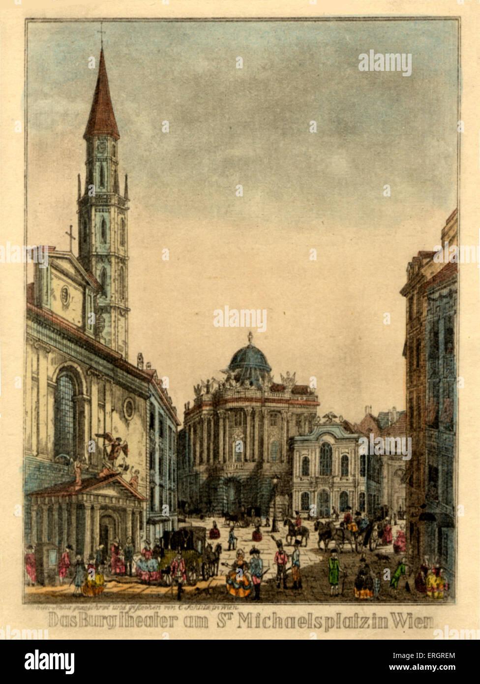 'Burgtheater' in St Michaelsplatz, Vienna (Beethoven, Haydn, Mozart). Austria. Theatre - Stock Image