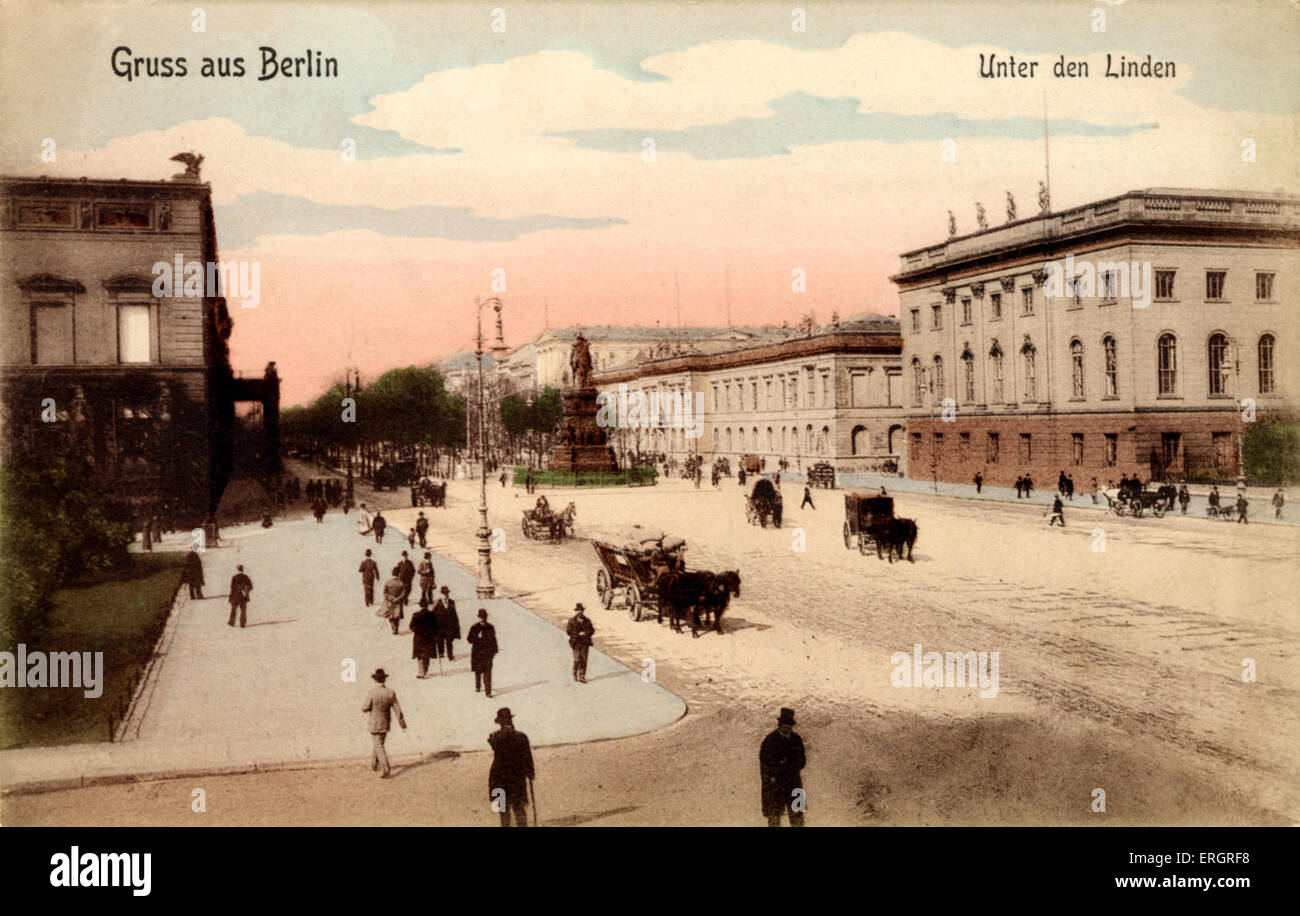 Berlin at the turn of the 20th century. Unter den Linden, and the Opera House to the right. Street scene. - Stock Image