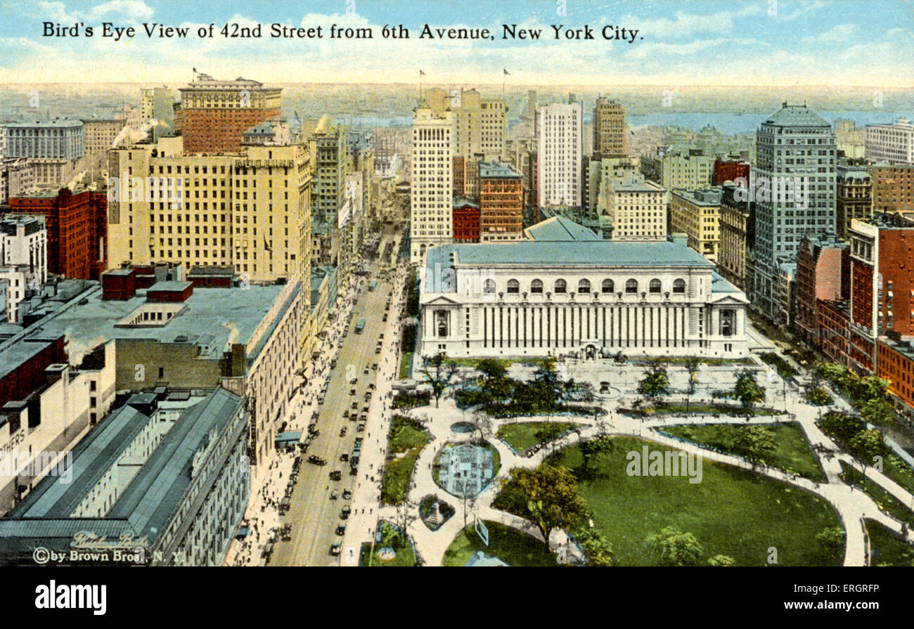 New York City, USA: bird's eye view of 42nd Street from 6th Avenue. Dvorák. - Stock Image