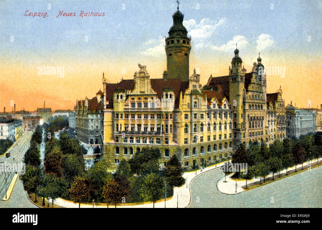 Leipzig New Town Hall Neues Rathaus Early 20th Century Postcard Stock Photo Alamy
