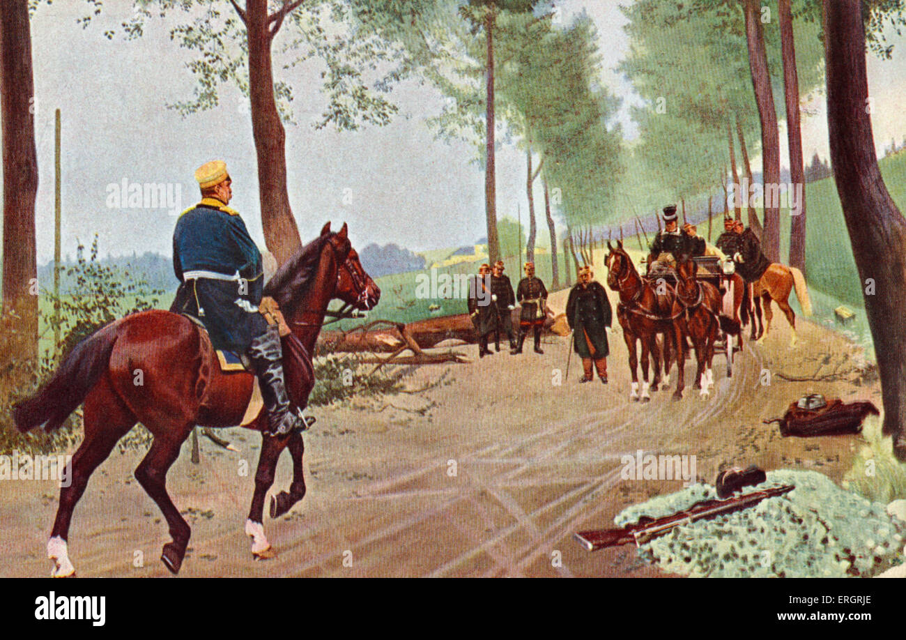 Bismarck and Napoleon III meet at Donchery, France Origins of the Franco-Prussian War.  Horses, cavalry-men, military - Stock Image