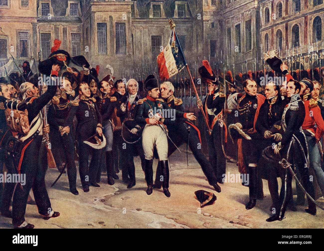 The abdication of Napoleon to the Imperial Guard at Fontainebleau, 20 April 1814. Painting by Horace Vernet. Napoleon: - Stock Image