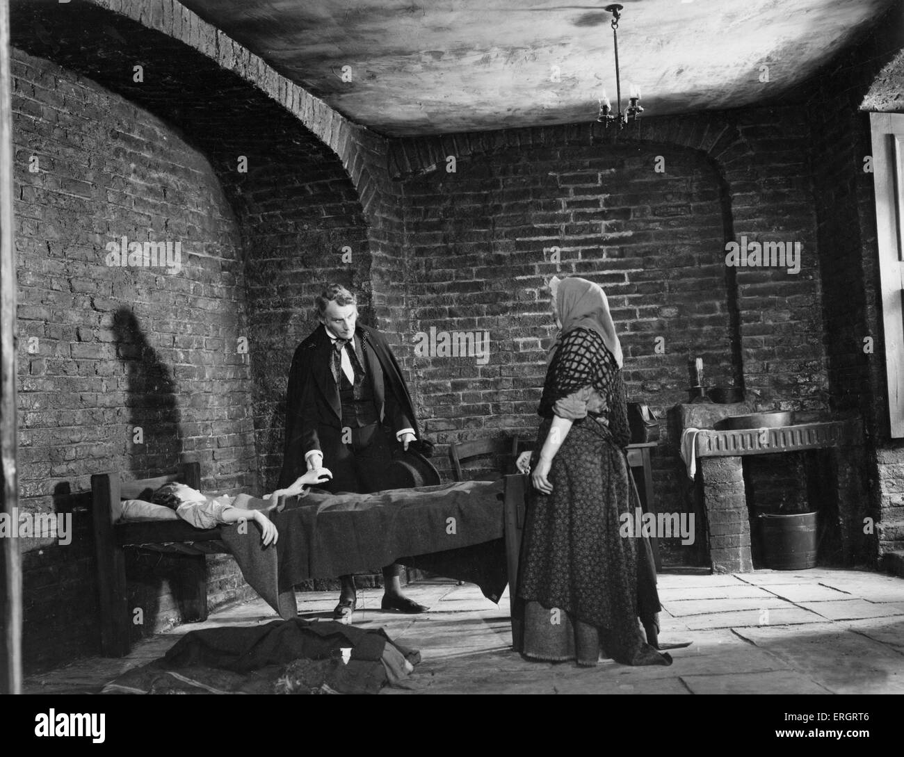 Oliver Twist film still from 1948 Rank Film production of Charles Dickens British novelist, 7 February 1812 - 9 - Stock Image