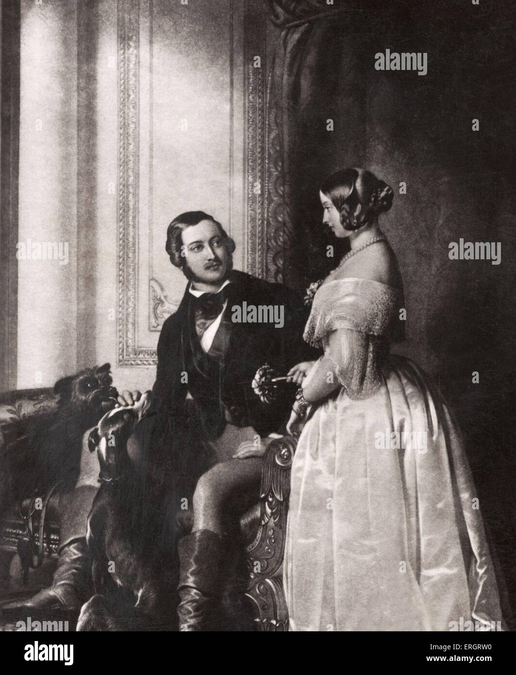 Queen Victoria & Prince Albert - portrait with game. 19th Century - Stock Image