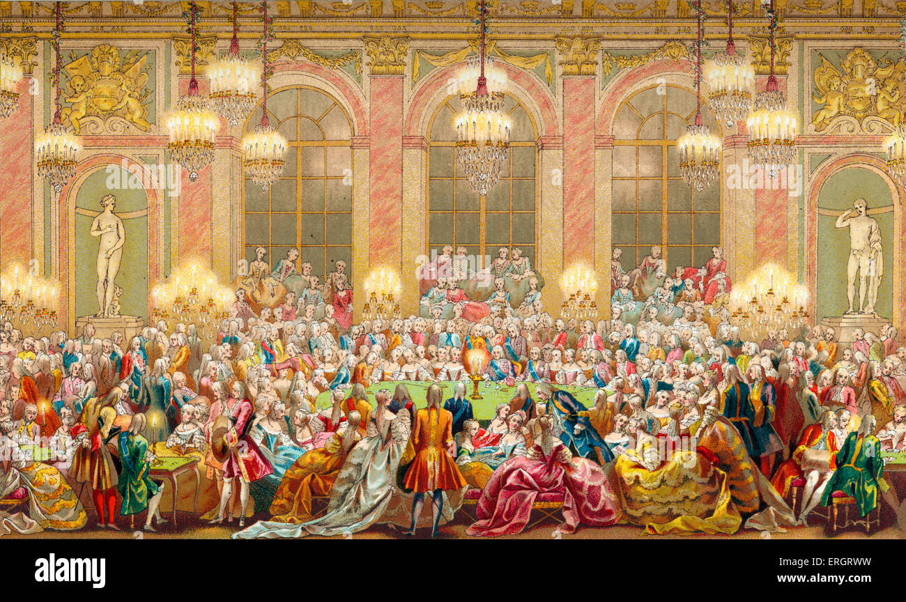 The 'Jeu du Roi' gaming table in the court of Louis XV. Louis XV reigned 1723-1774. - Stock Image
