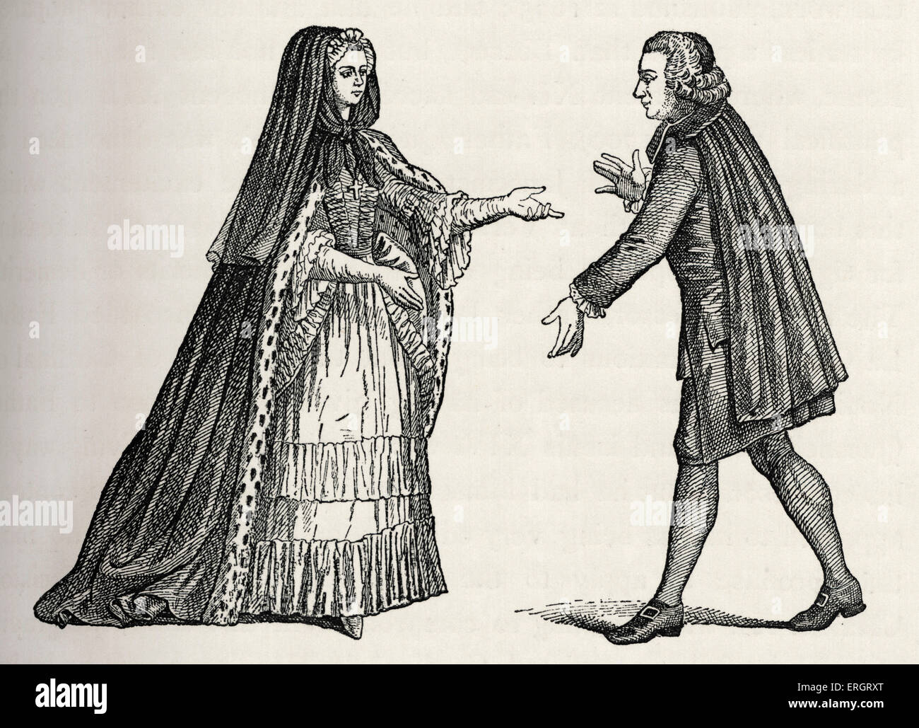 Clergy during the reign of Louis XV: French 18th abbess and abbot in outdoor clothes / costume. After Dupin's - Stock Image