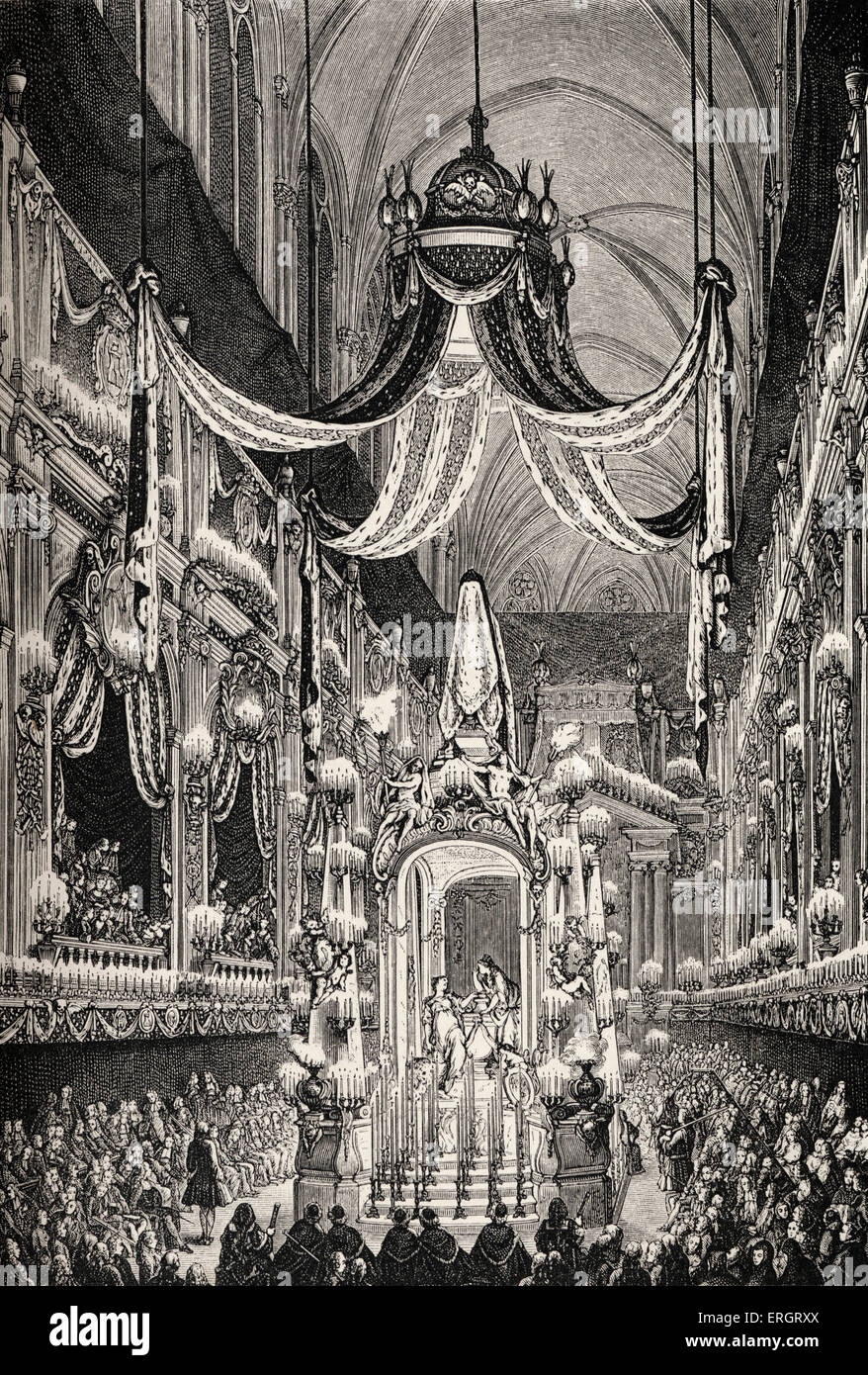 Clergy during the reign of Louis XV (18th century): funeral ceremony at Notre Dame, Paris, France, for death of - Stock Image