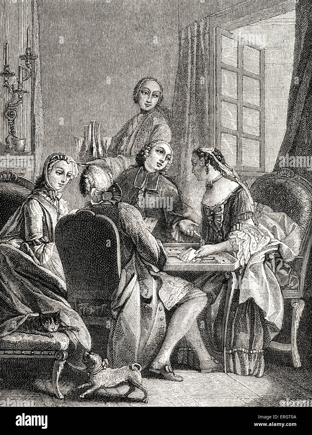 Daily life in French history: the aristocracy playing a game of Comet around a cards table.  Card games, gaming, - Stock Image
