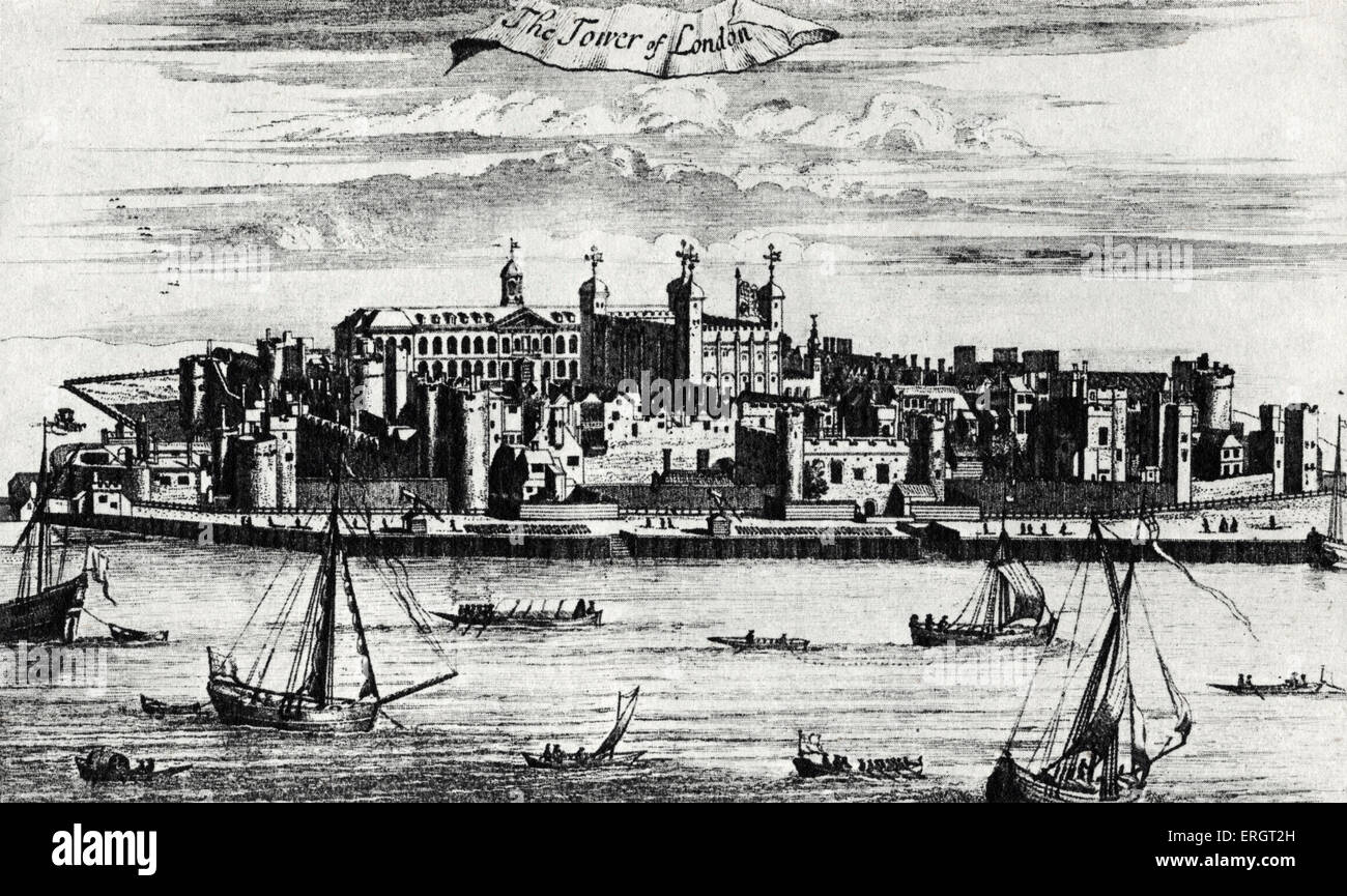 The Tower of London - Engraving from ' Survey of London and Westminster ' by John Stow first published in - Stock Image