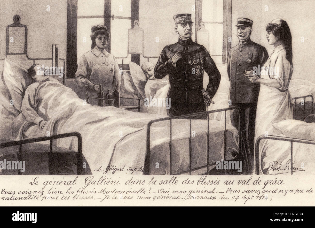 Joseph Gallieni - depicted on a postcard visiting the wounded, 1914 during World War I - French military leader - Stock Image