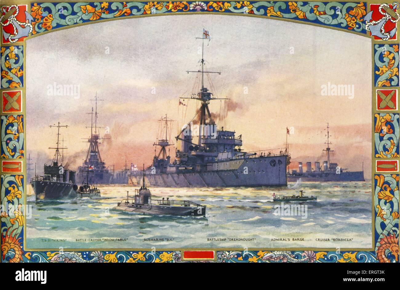 Battleships in British navy at the start of World War I - from painting by C.E.Turner. Ships from l-r: T.B.D 'Viking', - Stock Image