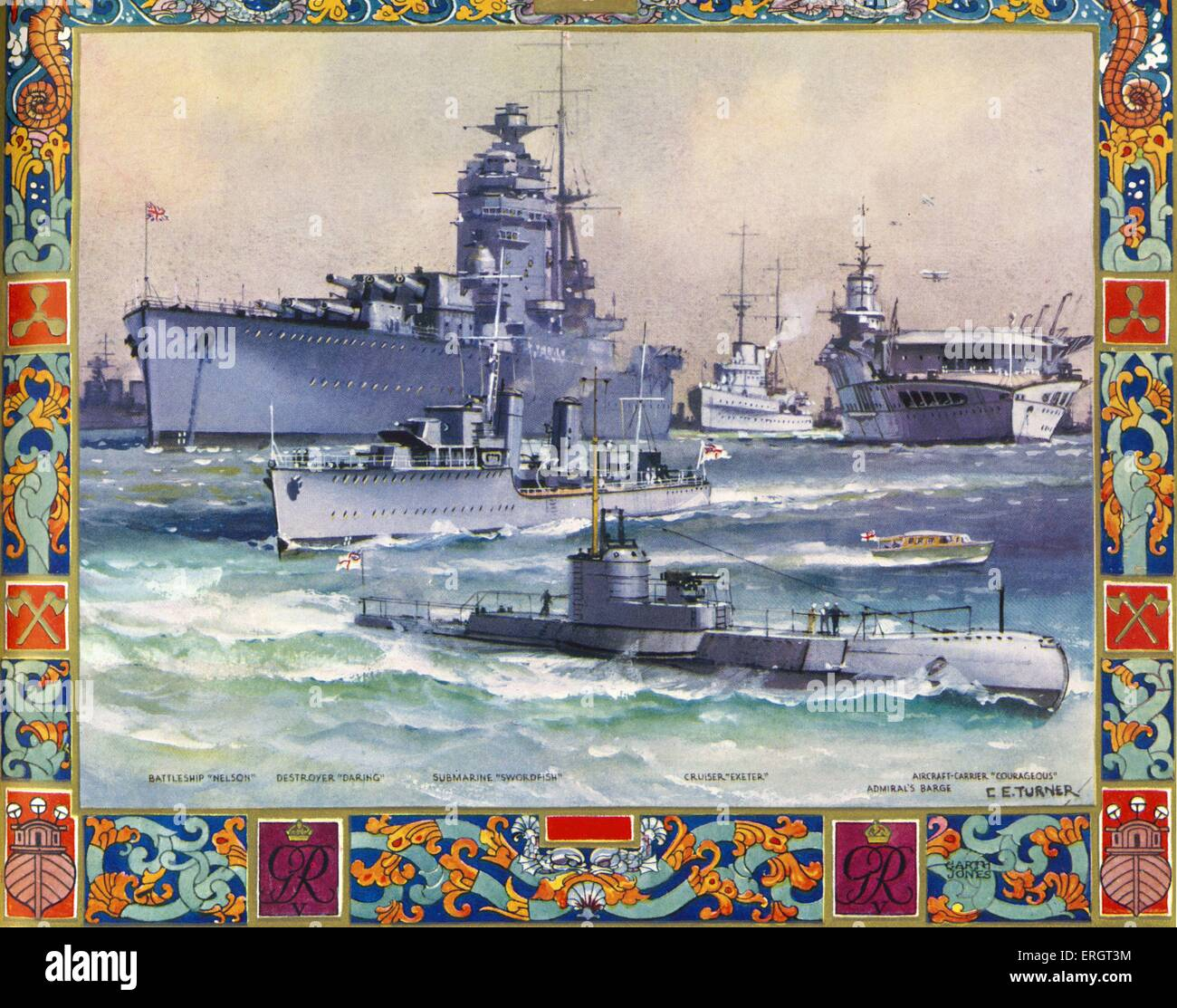 Battleships in British navy at the start of World War II - from painting by C.E.Turner. Ships from l-r:  Battleship - Stock Image