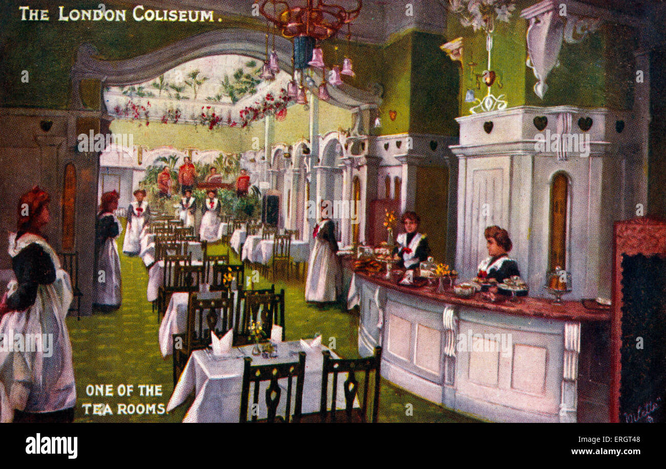 London Coliseum - Tea Room, Largest theatre in London, home to ENO. Designed by Frank Matcham in 1904. Waitresses - Stock Image