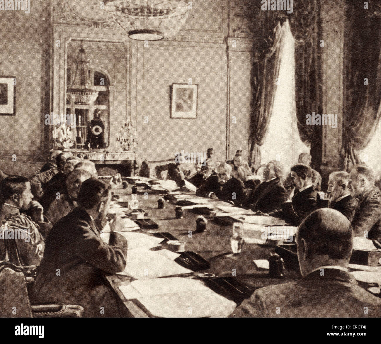'The Armistice' - illustration of the inter-allied conference at Versailles where the treaty was signed - Stock Image