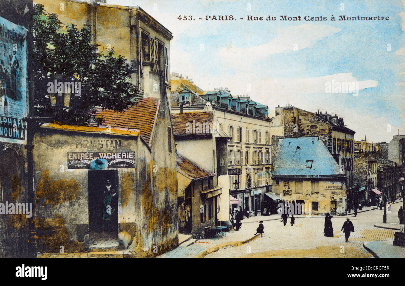 Paris scene.   Rue du Mont Cenis in Montmartre. Dairy with a notice selling milk by the cup. 'Lait à la - Stock Image