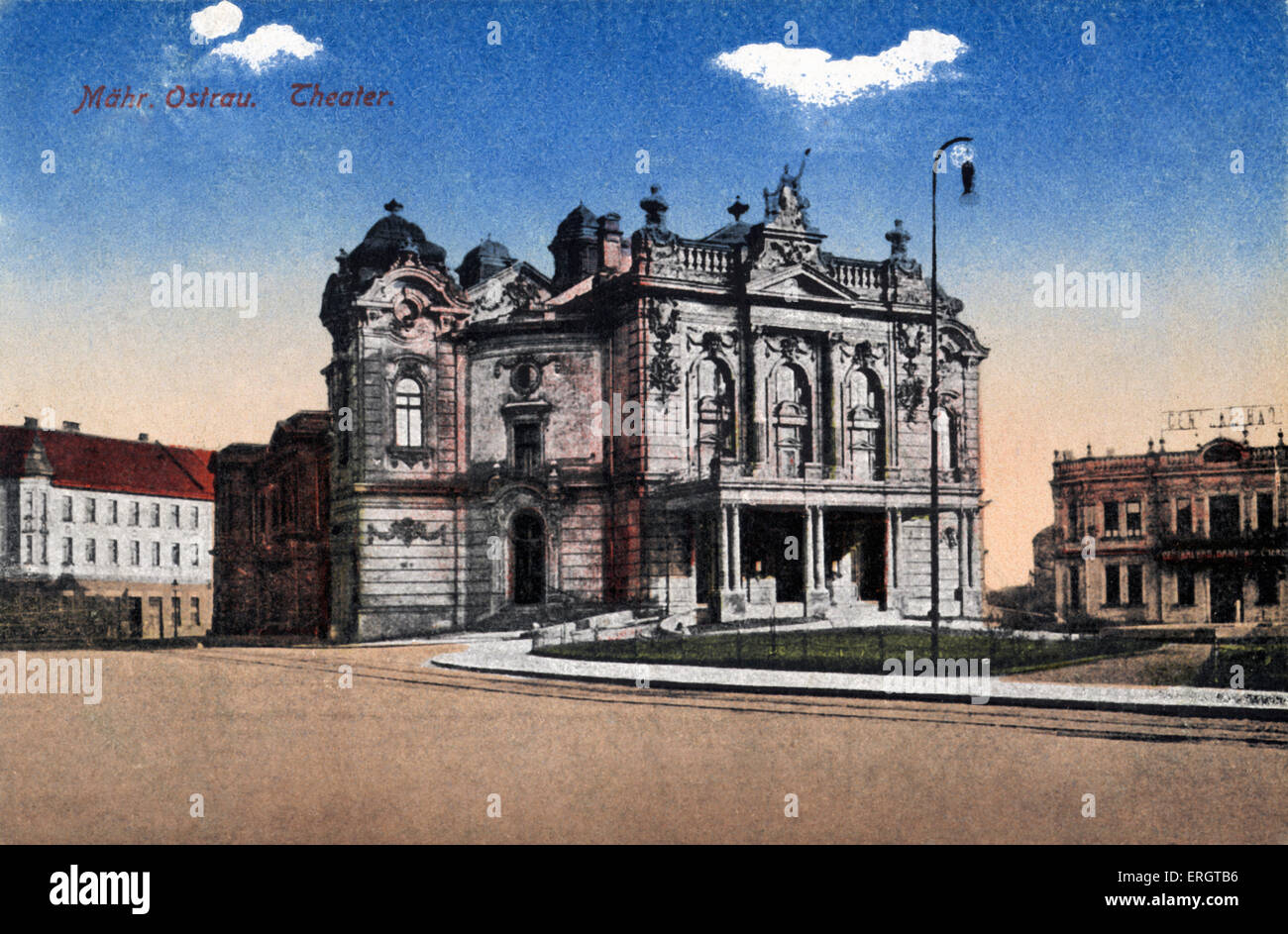 Ostrava (formerly Mahr. Ostrau) - coloured photograph of the Czech city 's theatre. Ostrava is the nearest city - Stock Image