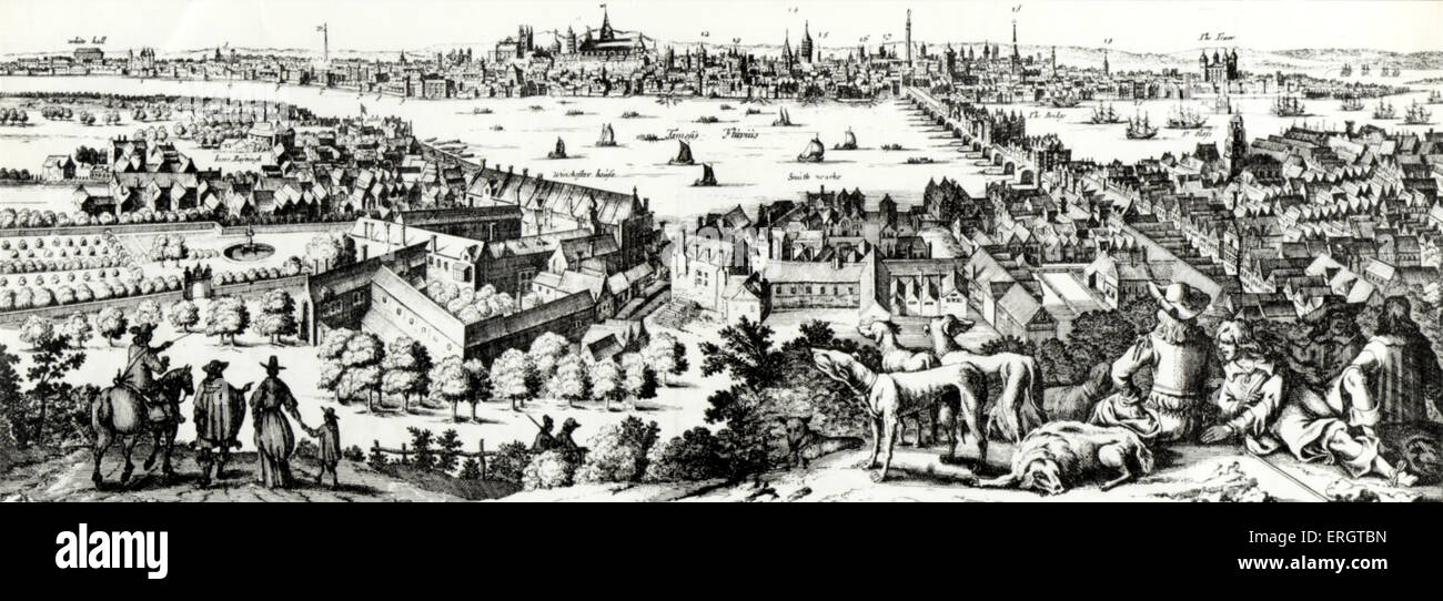 LONDON panorama or view, 1710 by De Witt of Amsterdam - Stock Image