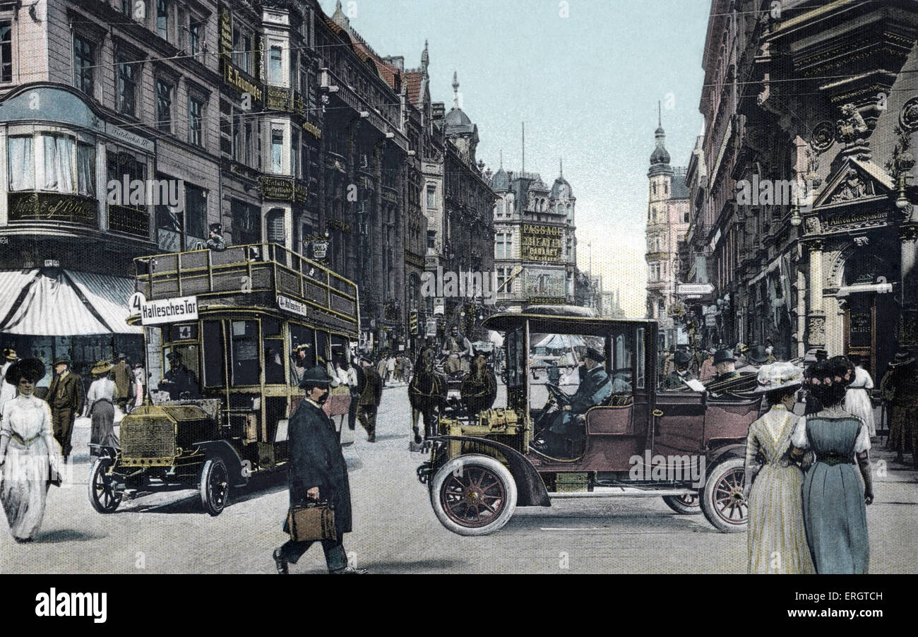 Berlin at the turn of the 20th century. Friedrichstrasse. Trams and horse drawn carriages. Street scene. Entitled - Stock Image