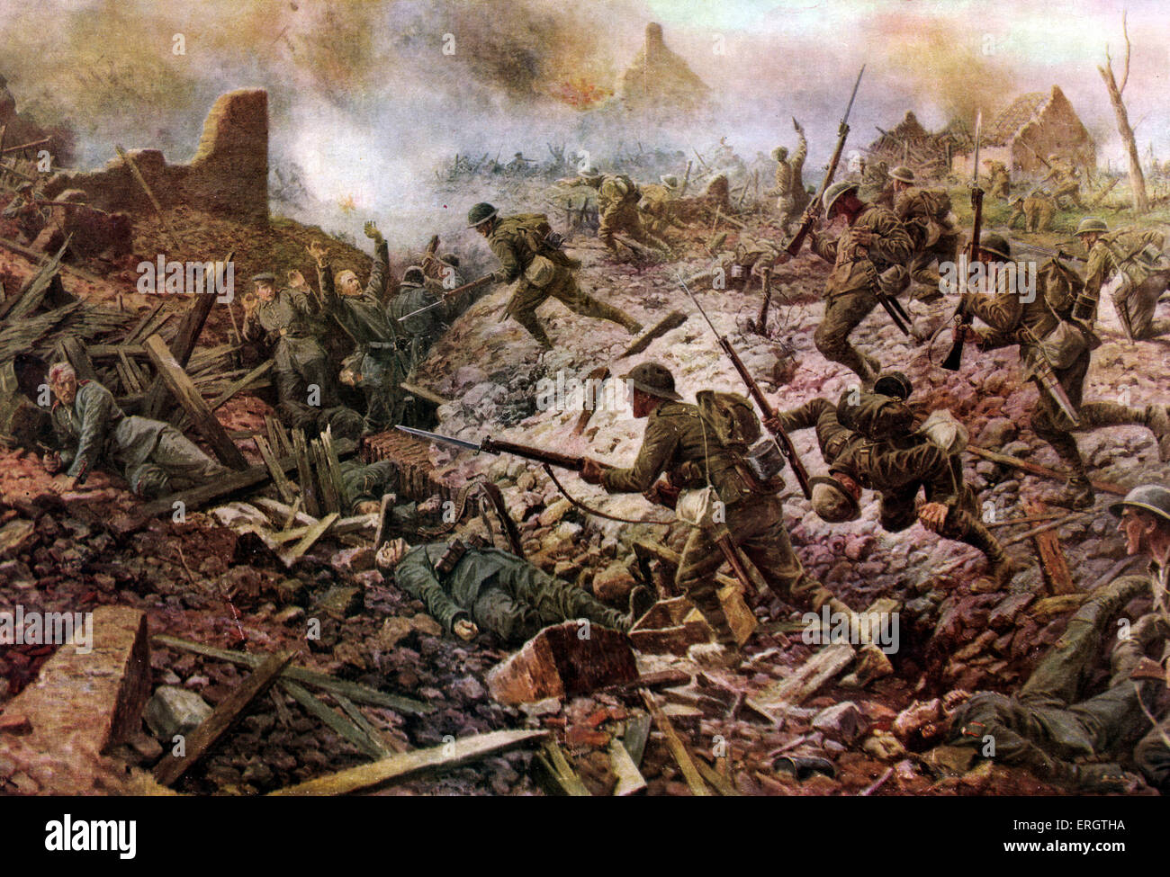 The London Territorials at Pozières during the Battle of the Somme, 1916. In The Great War From a painting - Stock Image
