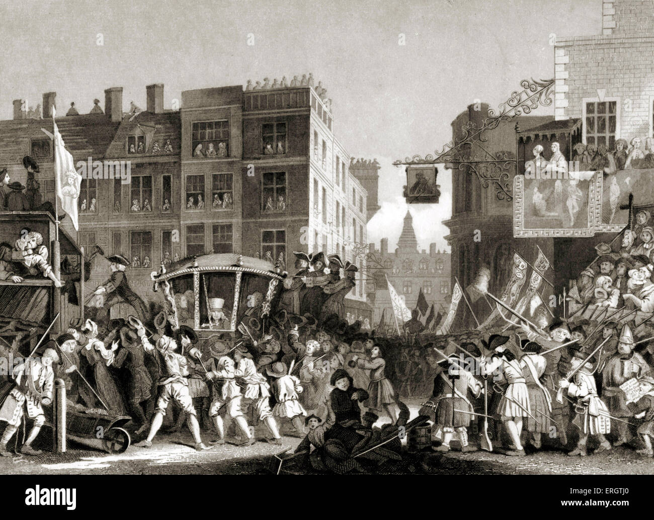 Goodchild as Lord Mayor of London - engraving by William Hogarth, English painter and artist November 10, 1697  - Stock Image