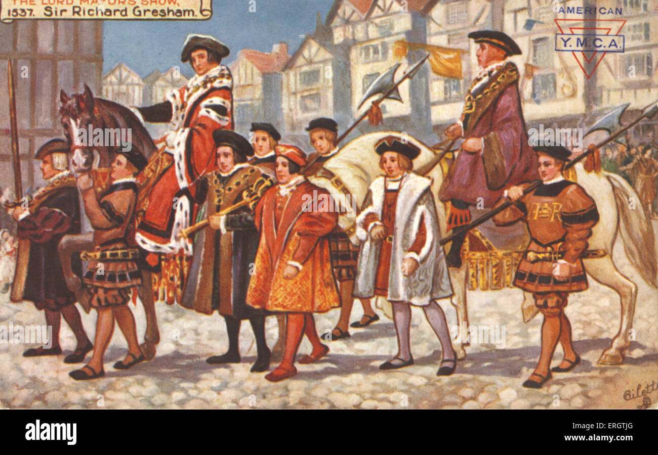 The Lord Mayor 's Show in the City of London, Tudor England, 1537. Sir Richard Gresham (b. 1485) was elected - Stock Image