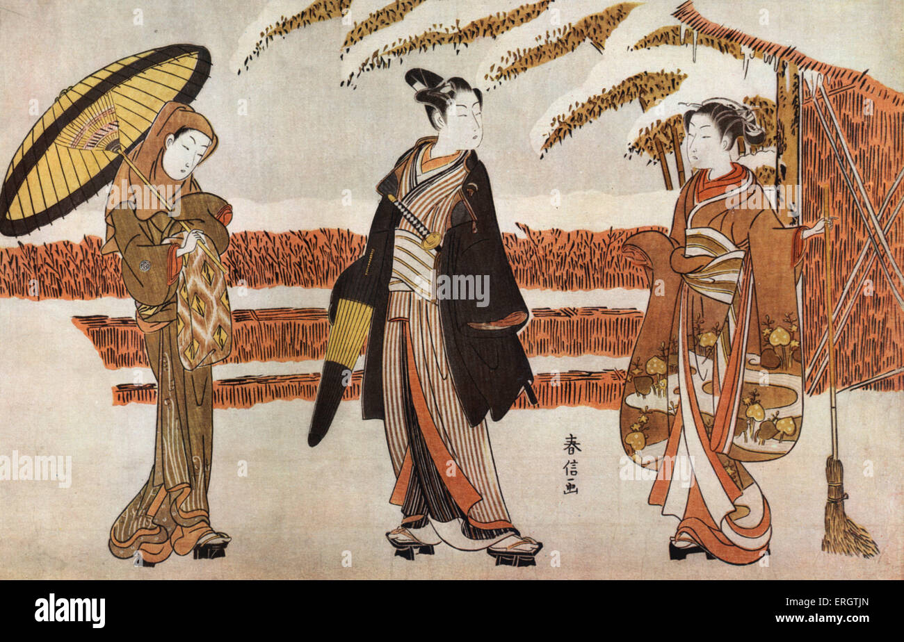 Three Japanese women in kimonos, one holding an umbrella - The Departure - print by Suzuki Harunobu, Japanese printmaker - Stock Image